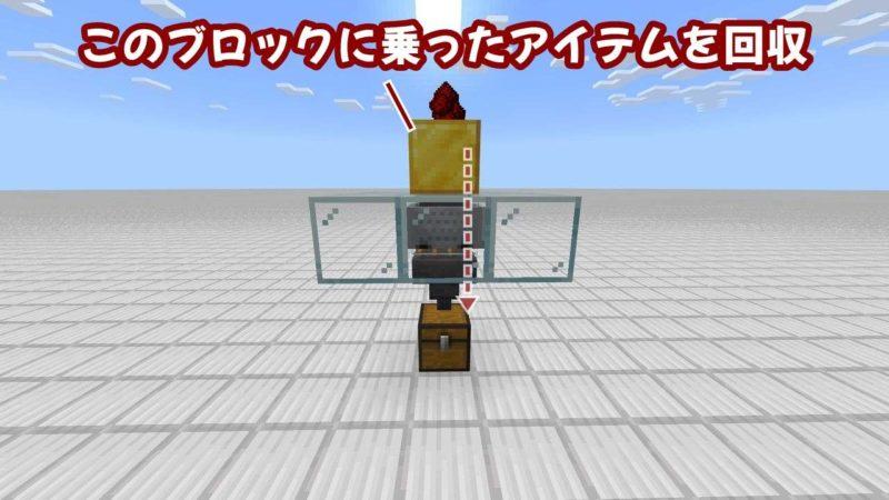 ホッパー付きトロッコがブロックに乗ったアイテムを回収