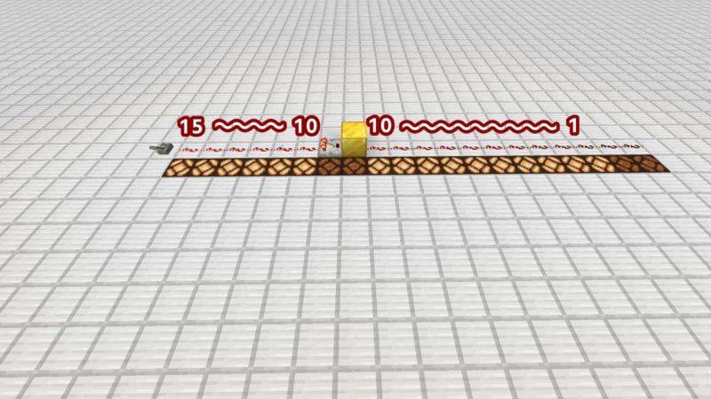 コンパレーターの後ろが10ならブロックとなりも10
