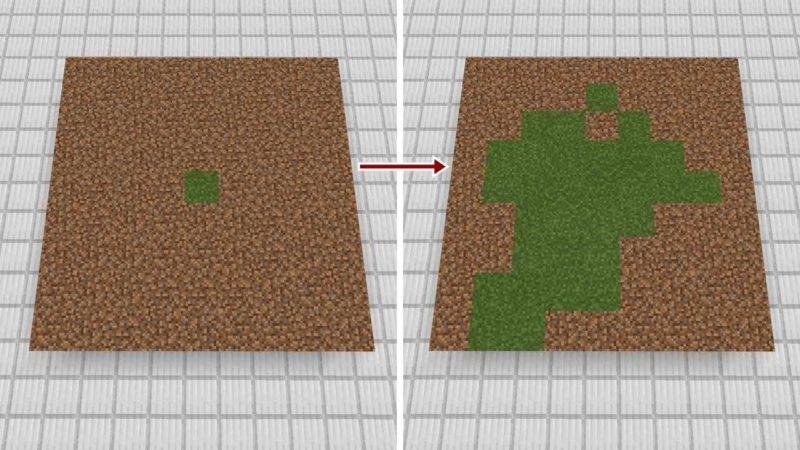 草ブロックが土ブロックに草を伝える