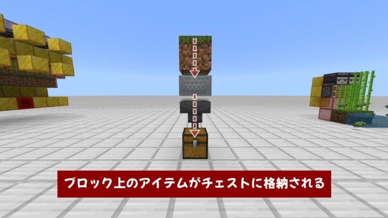 ブロック上のアイテムがチェストに格納される