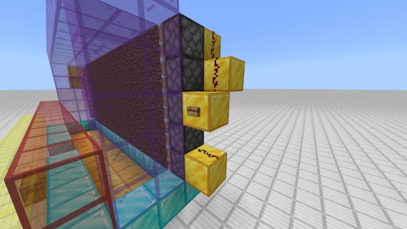 ボタンと建築用ブロック、レッドストーンの設置
