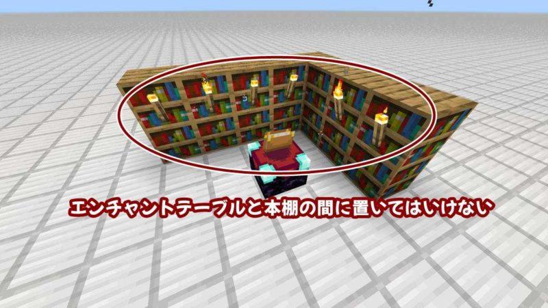 エンチャントテーブルと本棚の間に置いてはいけない