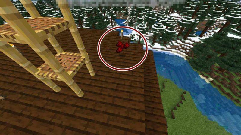 屋根の上に落下したアイテム
